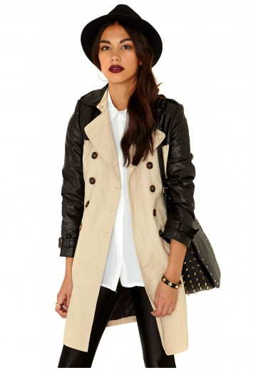 Mitzi Faux Leather Detail Coat - coats - missguided