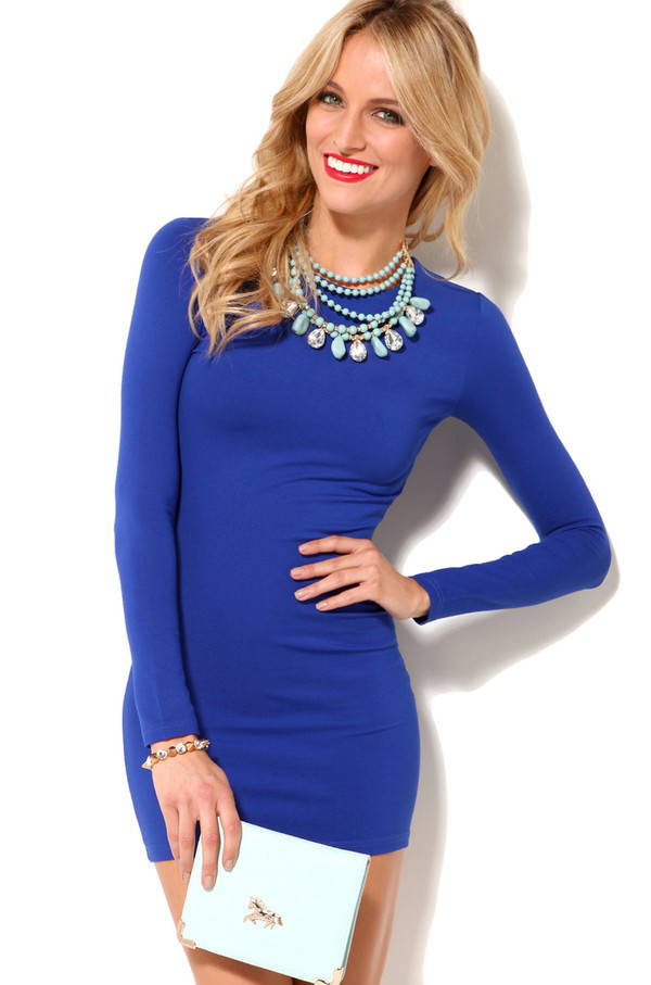 dress blue long sleeve dress