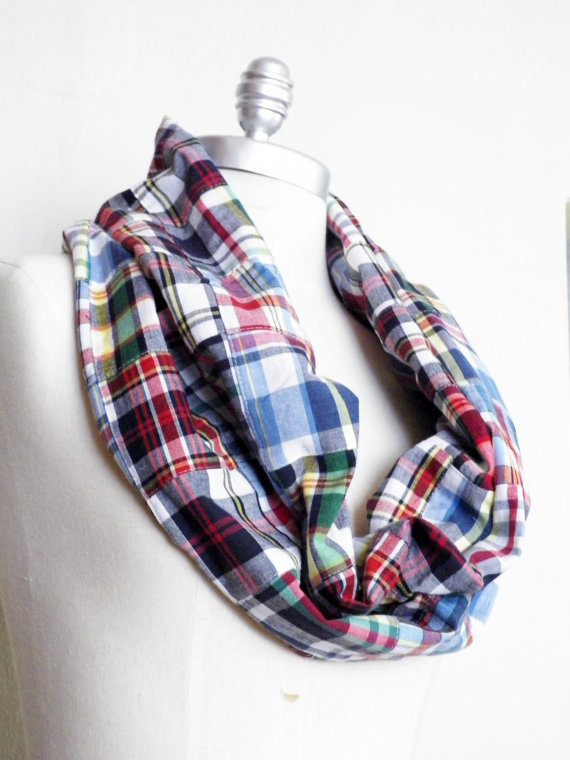 Plaid Patchwork Scarf Lightweight Infinity Loop with White, Blue, Red, Green, and Yellow on Wanelo