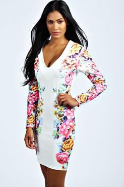 Melissa Floral Print Deep V Bodycon Dress at boohoo.com