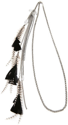 Jane Tran Crystal And Feather Chain Headband, Black - ShopStyle