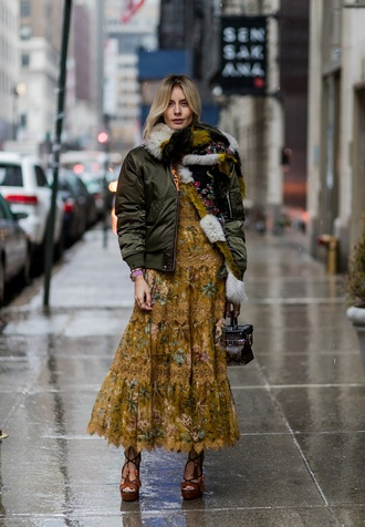 lisa rvd blogger scarf jacket dress shoes bag bomber jacket winter outfits sandals midi dress fall colors