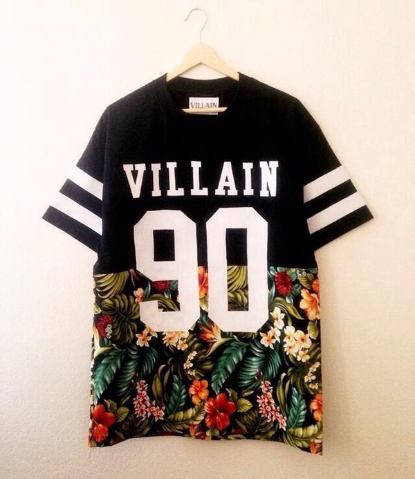 shirt villian floral jersey 90 mens t-shirt tropical t-shirt villain dope stripes kayne west black vilain 90 flowers t-shirt basketball style floral t shirt