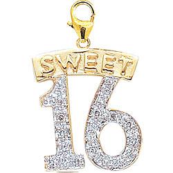14k Gold 1/10ct TDW Diamond Sweet 16 Charm (H-I-J, I2) | Overstock.com Shopping - The Best Deals on Diamond Charms