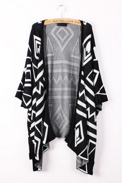 Geometry Graphic Batwing Cardigan - OASAP.com