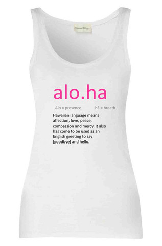 Aloha Dictionary Definition Vest Top   Cheap Funny T Shirts ~  Pop Culture T Shirts ~ Baby Onesies ~ Xray Skeleton Baby Tops ~ Funny Maternity Tops