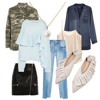 carolines mode blogger jacket jewels sweater skirt jeans tank top shirt camo jacket leather skirt zipped skirt