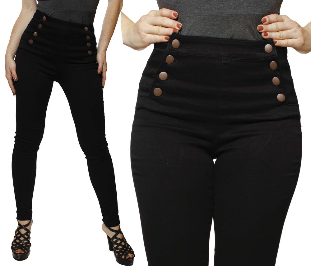 Black Front Button Double Breasted High Waisted Waist Skinny Pencil Jeans Pants | eBay