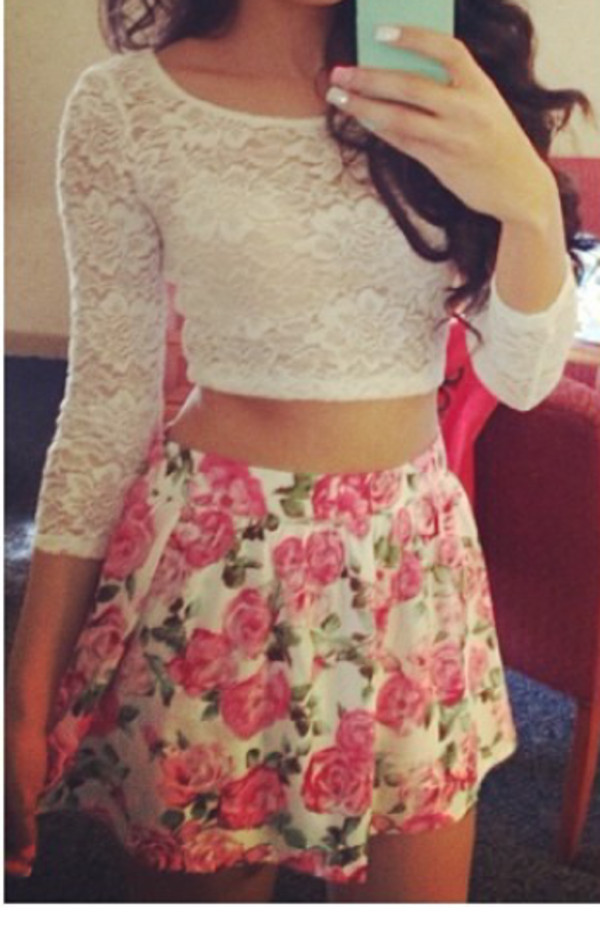 blouse skirt shirt top lace crop tops white floral skirt hair accessory floral skater skirt