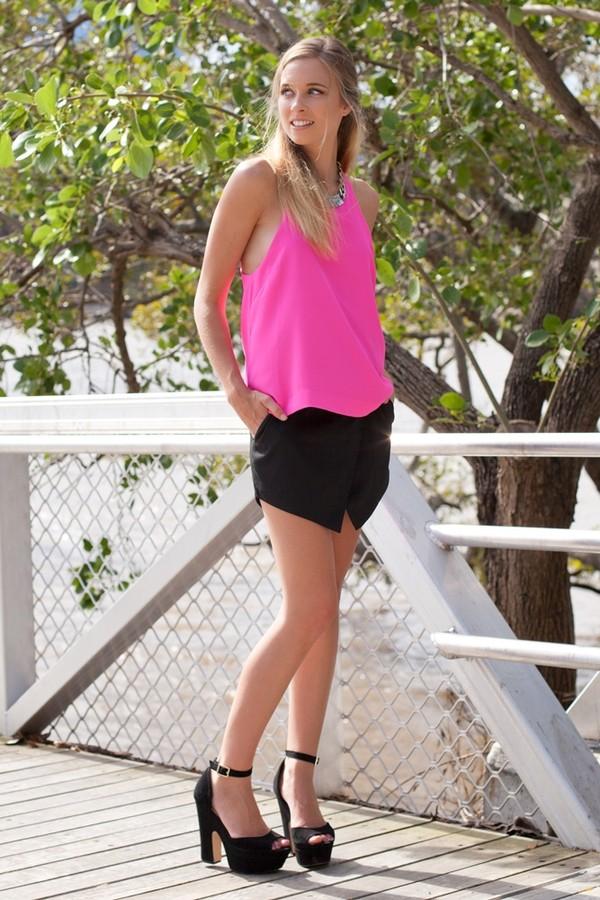 blouse skirt black crossover pink neon top halter neck mini skirt