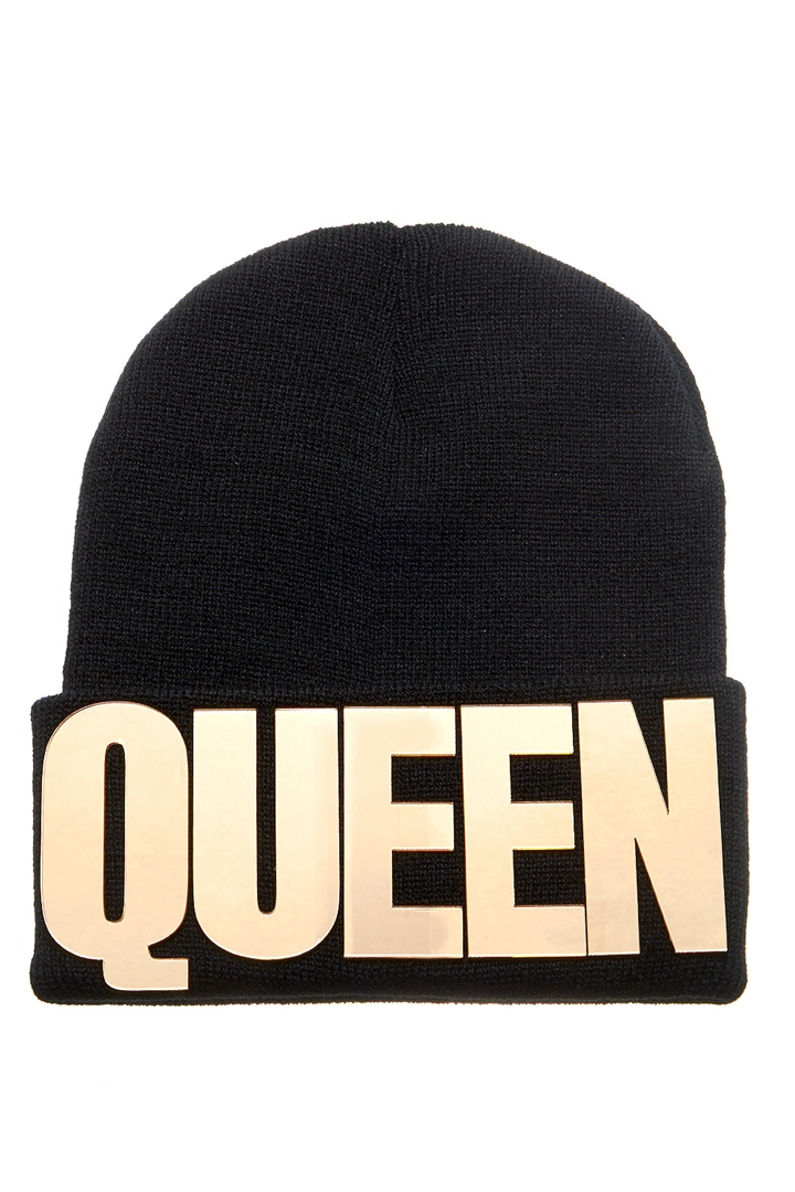 Fit For A Queen Beanie - Black & Gold from ROXX at ShopRoxx.com