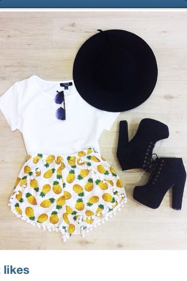 hat pineapple black shoes shorts