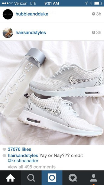 shoes nike white sneakers with ston