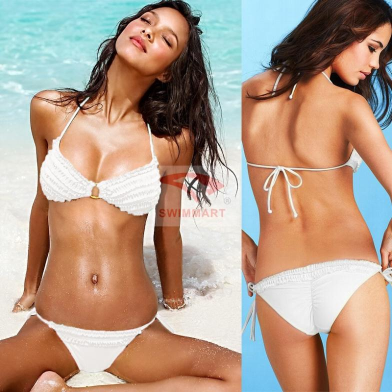 white bathing suits swimwear Flower Ruffle Cute Sexy thong bikini Swimwear Bathing Suit 2013 for women Push up padded underwire-in Bikinis Set from Apparel & Accessories on Aliexpress.com