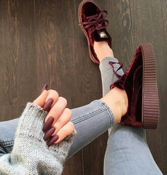 shoes puma red sneakers burgundy