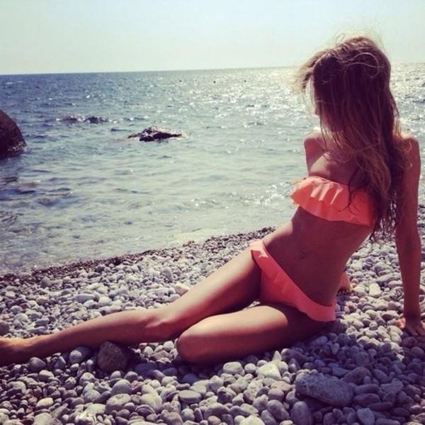 swimwear orange bikini