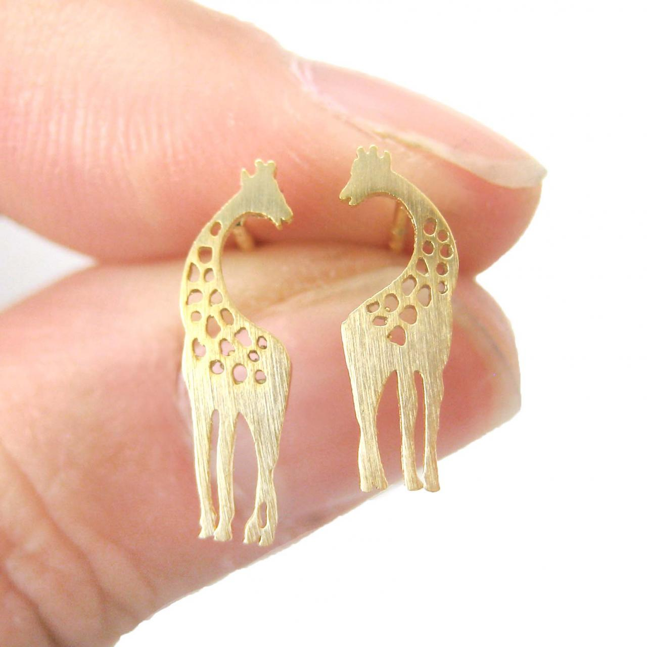 Giraffe Mother And Baby Silhouette Shaped Stud Earrings In Gold on Luulla