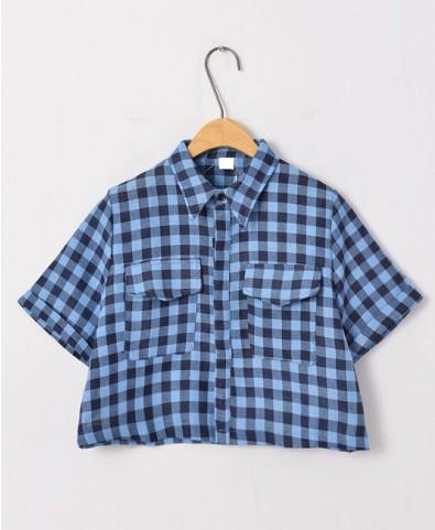 Vintage Style Contrast Color Plaid Lapel Collar Blouse - Shirts & Blouses - Tops - Clothing