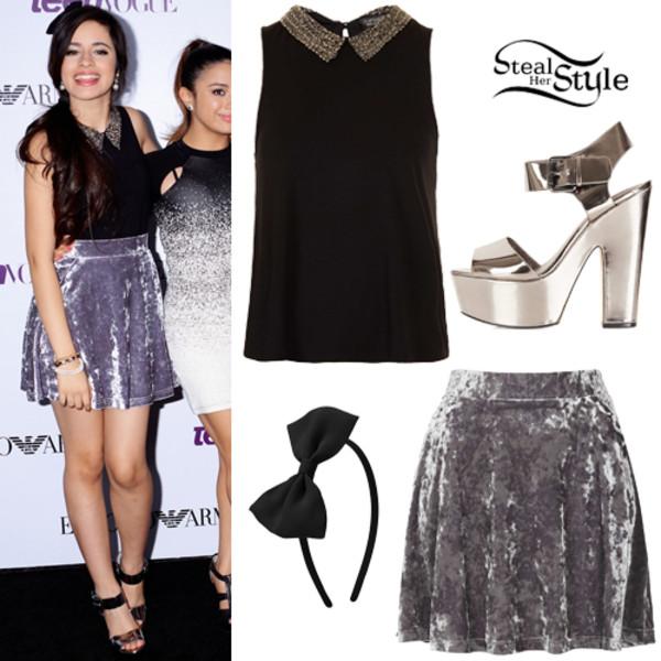 dress love colar neck heels Ally Brooke camila cabello hair bow bows Fifth Harmony x factor skirt cute sparkle colar blouse