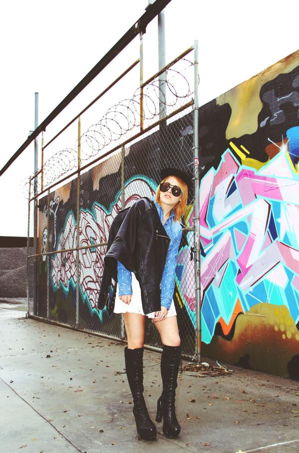 i hate blonde hat shirt skirt sunglasses