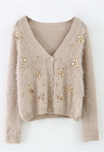 Floral Beads Fluffy Knit Cardigan  - Retro, Indie and Unique Fashion