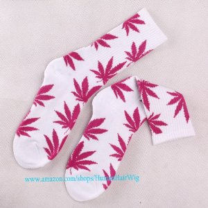 Amazon.com: New Plantlife Marijuana Weed Leaf Cotton High Socks Colorful Men/women (White rose Red Leaf): Beauty