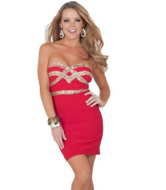 Amazon.com: Strapless Sweetheart Sequins Embellished Fitted Evening Cocktail Party Dress: Clothing