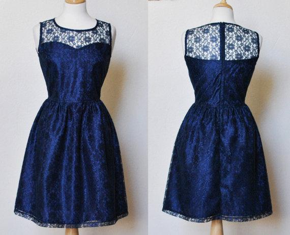 PROVENCE Navy Navy blue lace dress sweetheart neckline  by mfandj