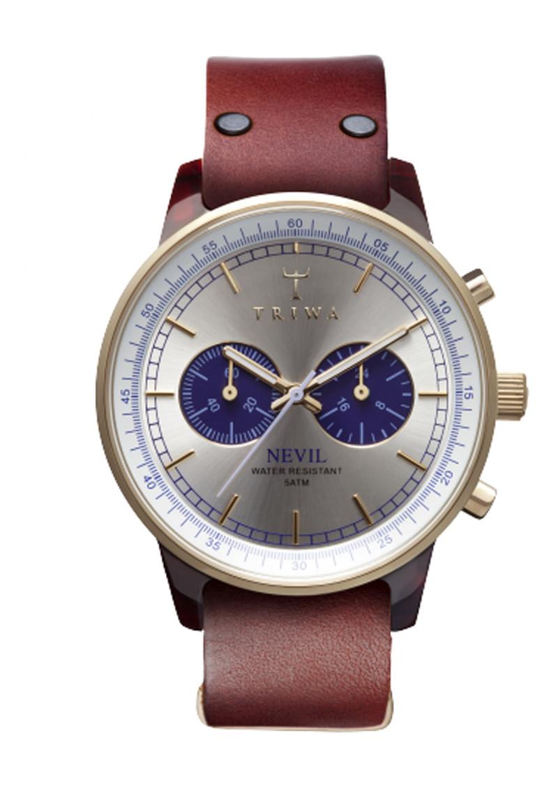 Triwa Blue Face Nevil Watch in Tan