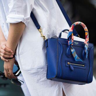 bag celine celine bag blue bag designer bag leather bag printed scarf our favorite accessories 2015