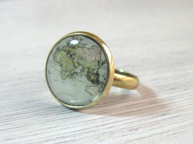 Ringe - Vintage Weltkarte Ring  - ein Designerstück von baronykajd bei DaWanda