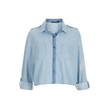 MOTO Crop Utility Denim Shirt - Tops - Clothing from eu.topshop.com | FASHIOLISTA | love your style!