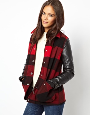 River Island   River Island Leather Look Check Coat at ASOS