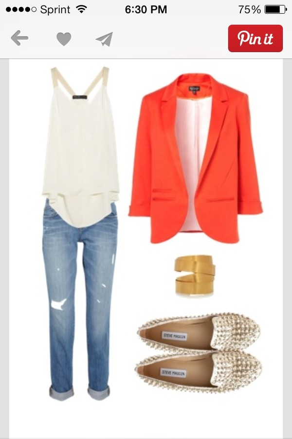 jacket blazer peach coral blouse flowy cream jeans ripped jeans shoes slip one studded studded shoes gold