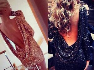 New Sequin Draped Gold Bodycon Dress Gold Party Dress Gold Sequins XS s M L   eBay