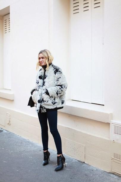 adenorah blogger ankle boots faux fur jacket winter jacket jeans jacket shoes bag