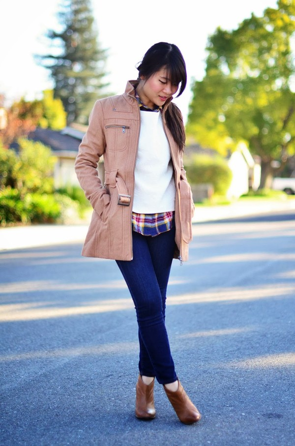 daily disguise coat sweater shirt jeans shoes
