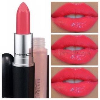 make-up bright pink mac cosmetics cute girly pink lipstick mac lipstick pretty coral