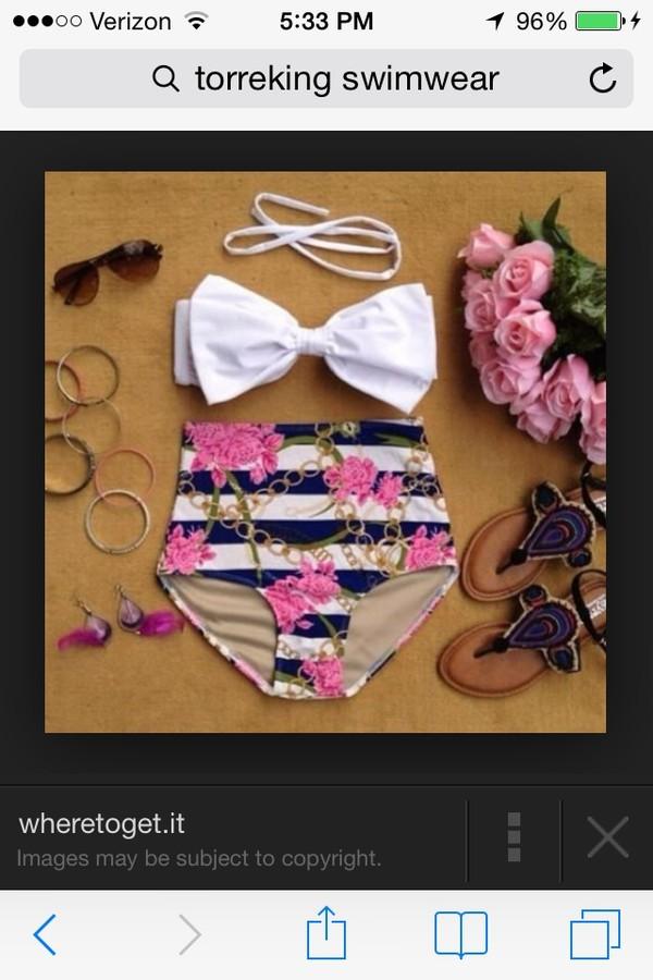 swimwear bow navy pink high waisted
