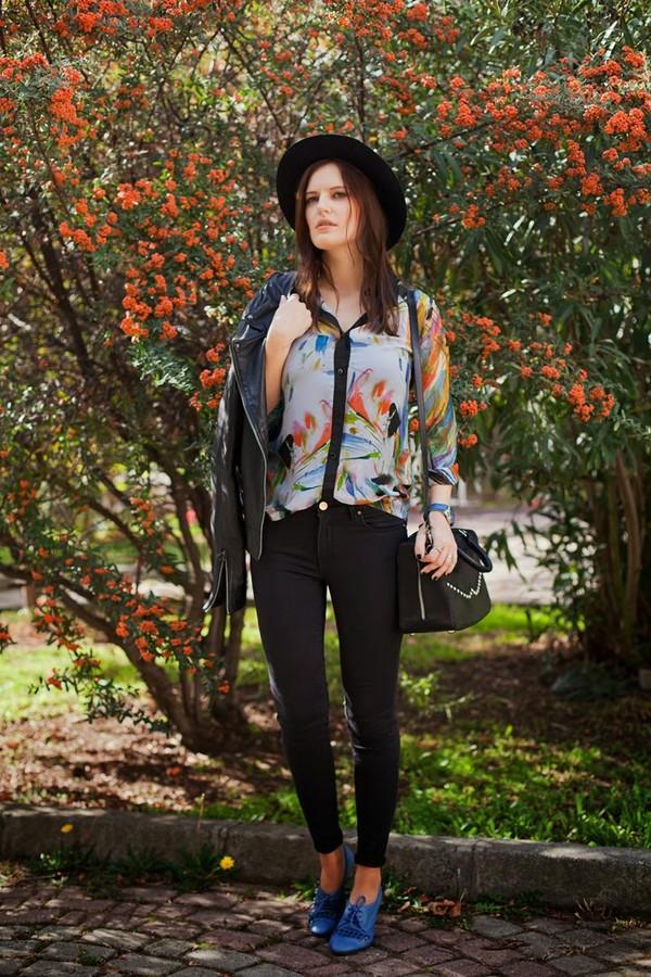 the bow-tie blouse pants jacket bag hat shoes jewels