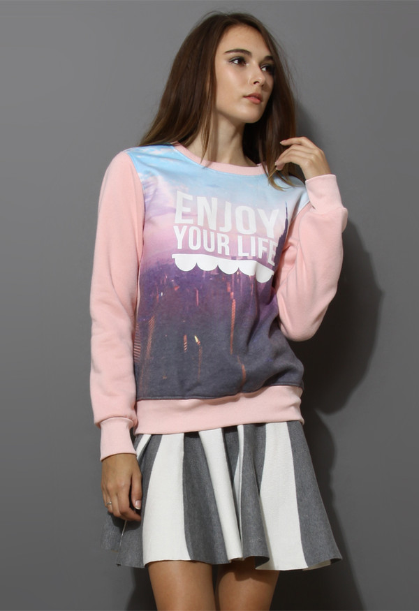 sweater scenic print pink