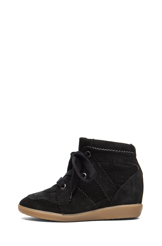 Isabel Marant Bobby Calfskin Velvet Leather Sneakers in Faded Black