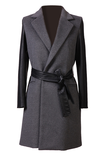 ROMWE | ROMWE Faux Leather Sleeved Self-tied Grey Coat, The Latest Street Fashion