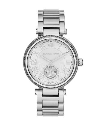 Michael Kors Mid-Size Silver Color Skylar Two-Hand Glitz Watch - Michael Kors