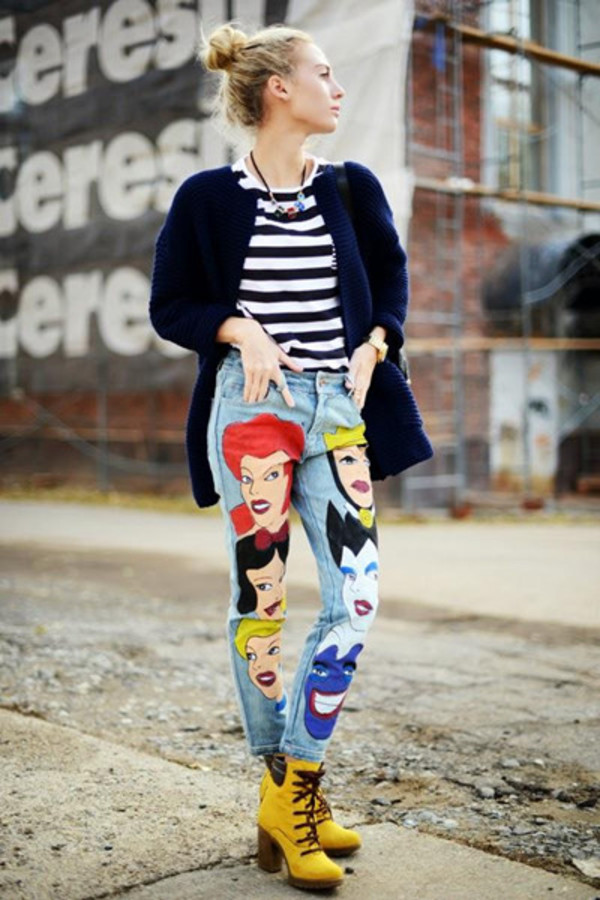 jeans princess denim cartoon pants blogger fashion clothes DrMartens