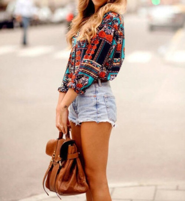 blouse colorful turquoise orange dark blue bag shorts pretty sweater shirt backpack old school