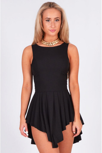 Ladies Cosima Hi-Low Pleated Mini Dress In Black at Pop Couture UK