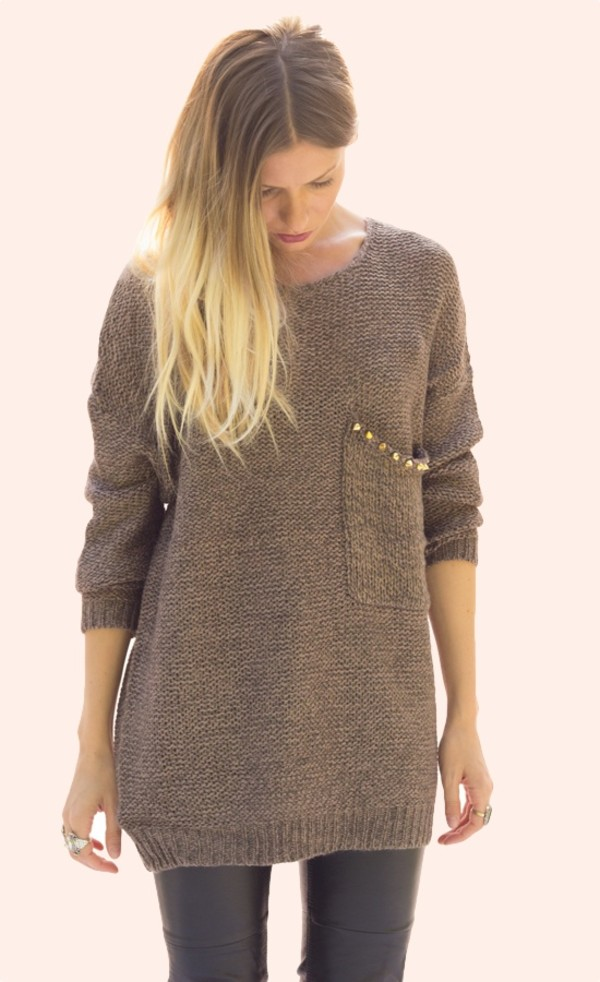 sweater studded studs long sleeves knit knitwear top shirt