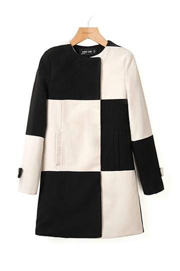 Black and White Plaid Wool Coat [FEBK0387] - PersunMall.com
