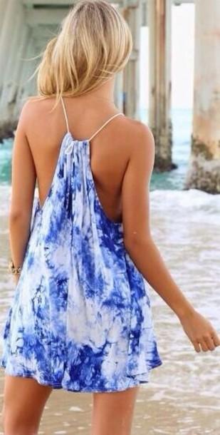 dress blue white beach summer blue dress blue and white dress summer dress sundress cute dress blue beach dress sea fashion blouse swimwear
